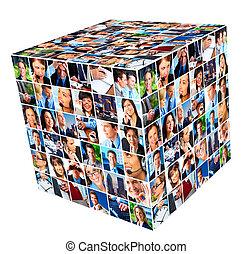 collage., grupo, empresarios