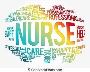 collage, nube, palabra, enfermera