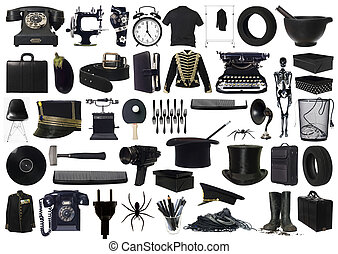 collage, objetos, negro