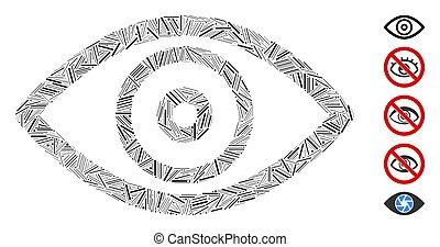 collage, ojo, arranque, icono