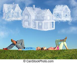 collage, pareja, tres, casas, acostado, pasto o césped, sueño, nube