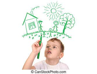 collage, pluma, dibujo, felt-tip, familia , niño, el suyo