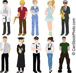 collage, profesional, trabajadores