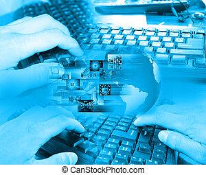 collage, teclado