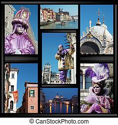 collage, venecia, viejo, máscaras