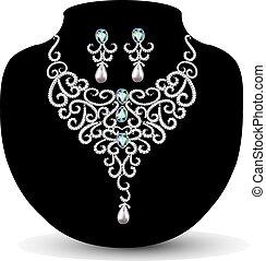 collar, pendientes, diamante, boda, womens