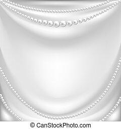 collar, perla, seda, colgadura