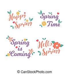 collection., hola, insignia, illustration., card., design., vector, saludo, primavera, mano, spring., feliz, etiqueta, plano, drawn.