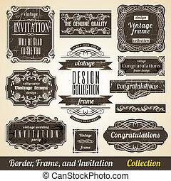 collection., marco, calligraphic, invitación, esquina, elemento, frontera