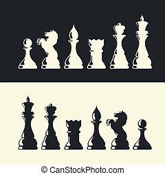 collection., vector, artículos del ajedrez