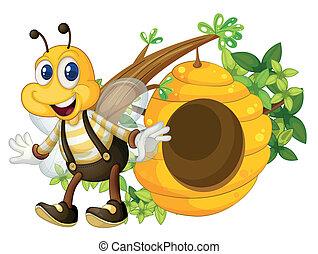 colmena, sonriente, amarillo, abeja