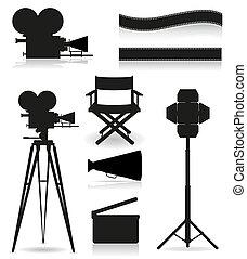 Coloca iconos siluetas cinematografía