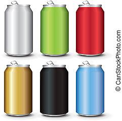 Coloca latas de aluminio de colores