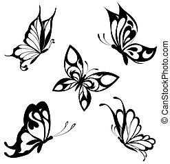 Colocar mariposas blancas negras de un ta