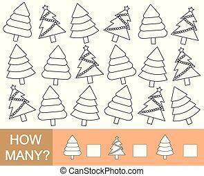 Color árbol de Navidad y contar cuántos. Juego matemático para niños. Ilustración de vectores.