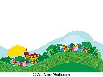 color, aldea, ilustración, vector