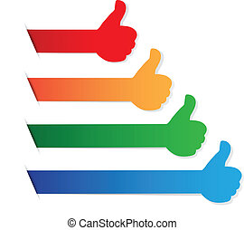 color, arriba, etiqueta, pulgares, blanco
