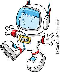 color, astronauta, niño, vector, caricatura