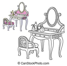 color, barroco, silla, contorneado, aliño, libro colorear, tabla, pequeño