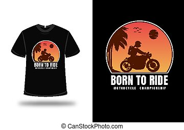 color, camiseta, paseo, naranja, motocicleta, campeonato, nacido