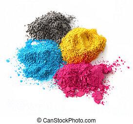 color, cmyk, polvo