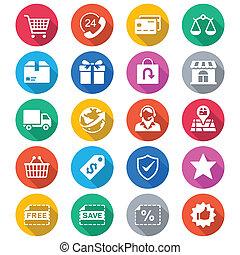 color, comercio electrónico, plano, iconos