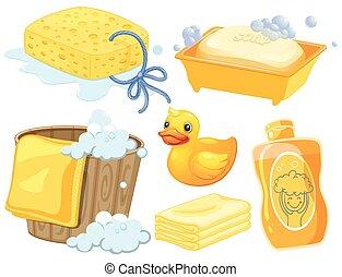 color, cuarto de baño, conjunto, amarillo