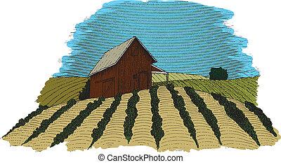 Color de la escena de la granja