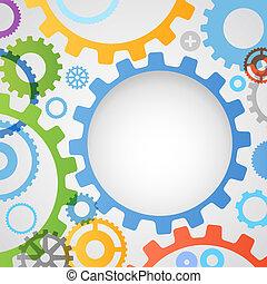 Color diferentes ruedas de engranajes de fondo abstracto