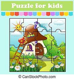 color, educación, animales, preschool., page., caricatura, house., aislado, vector, rompecabezas, actividad, style., kids., worksheet., hongo, illustration., adivinanza, juego