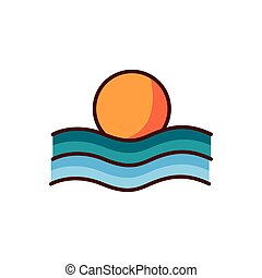 color, escenas, línea, verano, ondas, sol, estilo, mar