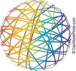 color, esfera, resumen, líneas