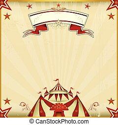 color, fantástico, circo, cuadrado, tarjeta