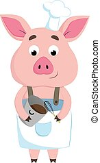 color feliz, vector, o, chef, illustration., cerdo