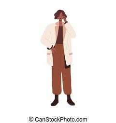 color fondo, outfit., ropa, plano, aislado, pantalones, style., flojo, africano, moderno, ilustración, urbano, llevando, blanco, moderno, boots., elegante, tuck, mujer, moda, chaqueta, casual, modelo, vector