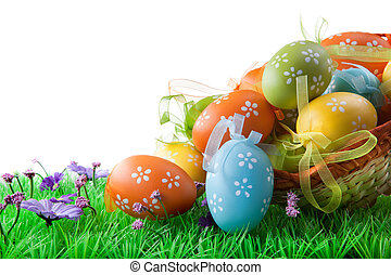 color, huevos, aislado, cesta, blanco, pascua