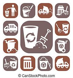 Color iconos de basura