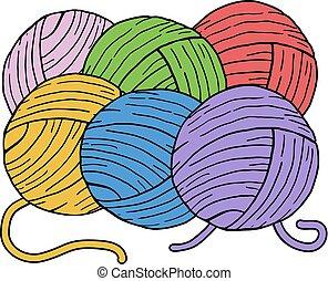 color, lana, pelotas