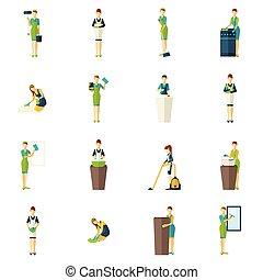 color, limpiadores, conjunto, plano, iconos