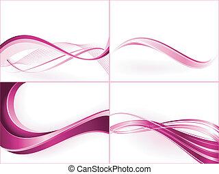 color, máscaras, recorte, gradients, lineal, templates., global, mezclas, swatches., púrpura, uso, rosa, onda