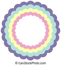 color, marco, pastel, círculo, arco irirs, plantilla, ondulado