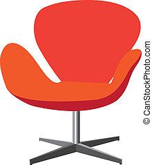 color, moderno, naranja, ilustración, silla, cómodo, elegante, fondo., rojo, elegante, blanco