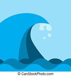 color., oferta, onda océano, mar, azul