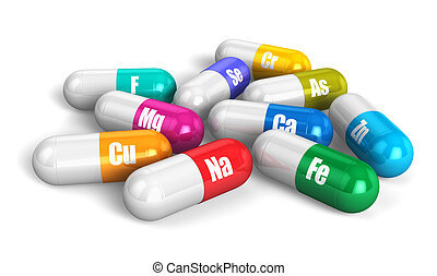 color, píldoras de la vitamina