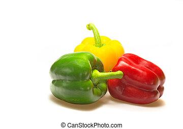 Color paprika (pepper) aislado en un fondo blanco