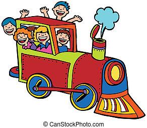 color, paseo, tren, caricatura