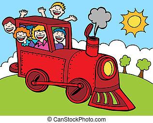 color, paseo, tren, parque, caricatura