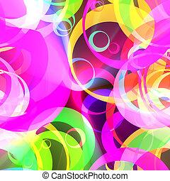 color, patrón, círculo, retro, encendido
