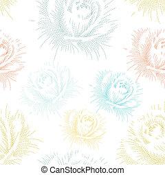 color, patrón, seamless, mano, rosas, dibujo