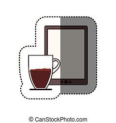 Color pegatina de silueta con taza de café y tableta